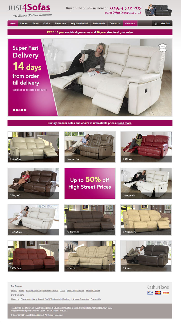 Just4Sofas website